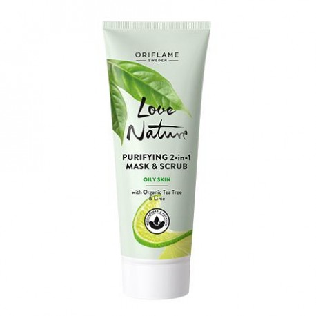 ماسک و اسکراب دوکاره تی تری و لیمو لاونیچر Love Nature Tea tree & Lime